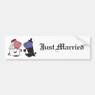 Funny Bride and Groom Wedding Cartoon Bumper Sticker