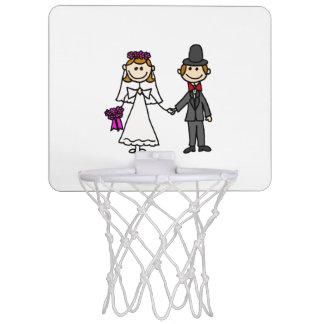 Funny Bride and Groom Wedding Cartoon Mini Basketball Hoop