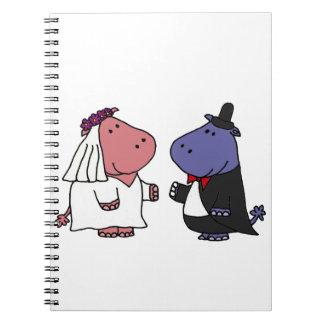 Funny Bride and Groom Wedding Cartoon Spiral Note Book