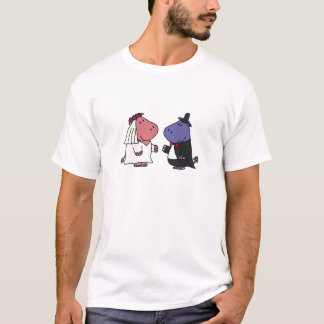 Funny Bride and Groom Wedding Cartoon T-Shirt