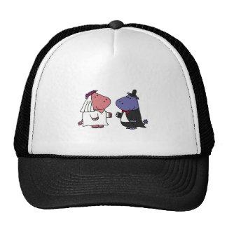 Funny Bride and Groom Wedding Cartoon Trucker Hat