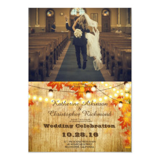 funny bride kidnapping/leafs,autumn,fall, 13 cm x 18 cm invitation card