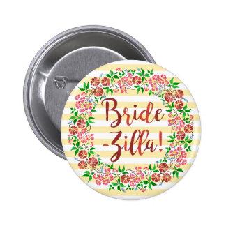 Funny Bridezilla Wedding Floral Watercolor Stripes 6 Cm Round Badge