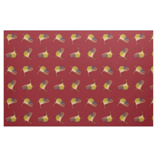 Funny Bright Bird Pattern Red Fabric