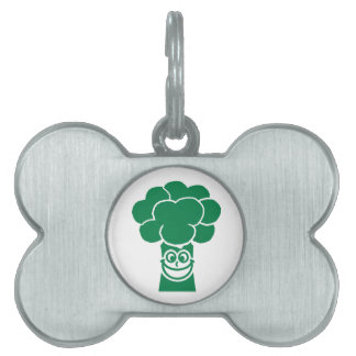 Funny broccoli face pet tag