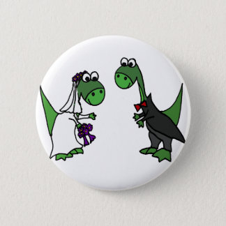Funny Brontosaurus Wedding Art 6 Cm Round Badge