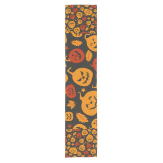 Funny Brown and Orange Halloween Pumpkins Pattern Short Table Runner