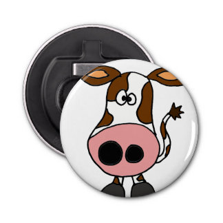Funny Brown and White Cow Cartoon Bottle Opener