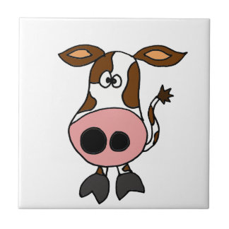 Funny Brown and White Cow Cartoon Ceramic Tile