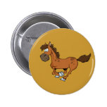 FUNNY BROWN CARTOON HORSE RUNNING GALLOPING BUTTONS