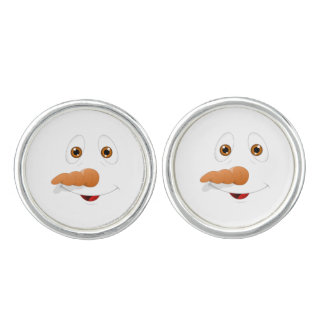 Funny Brown Eyed Snowman Cuff Links