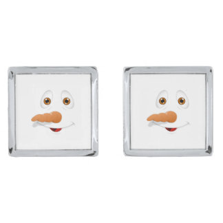 Funny Brown Eyed Snowman Silver Finish Cufflinks