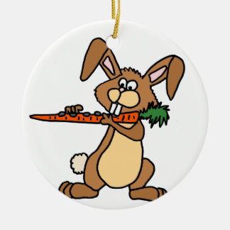 Funny Brown Rabbit Playing Flute Carrot Ceramic Ornament