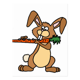 Funny Brown Rabbit Playing Flute Carrot Postcard