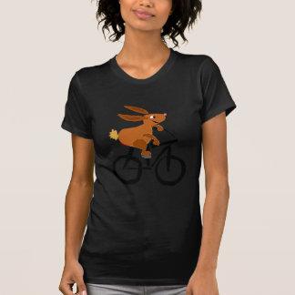 Funny Brown Rabbit Riding Bicycle T-Shirt