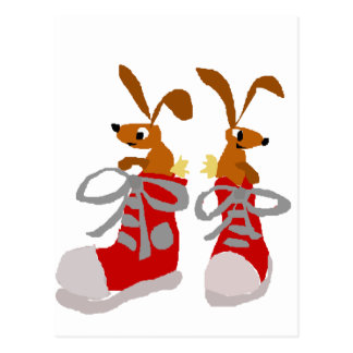 Funny Brown Rabbits in Red Sneakers Postcard