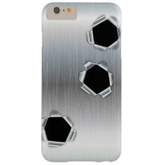 Funny Brushed Metal and Bullet Holes Barely There iPhone 6 Plus Case