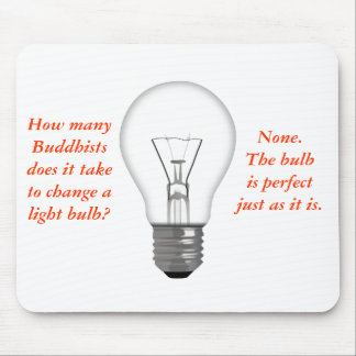 Funny Buddhist Light Bulb Mouse Mat