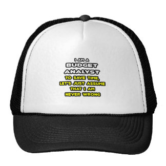 Funny Budget Analyst T-Shirts and Gifts Mesh Hat