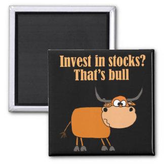 Funny Bull Stock Market Cartoon Art Magnet