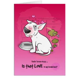 Funny Bull Terrier Cartoon Card LOVE