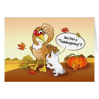 Funny Bull Terrier Cartoon Thanksgiving Card