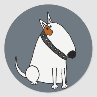 Funny Bull Terrier Dog Art Classic Round Sticker