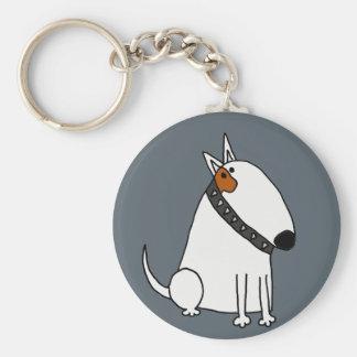 Funny Bull Terrier Dog Art Key Ring