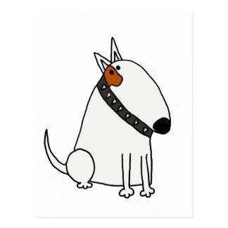 Funny Bull Terrier Dog Art Postcard