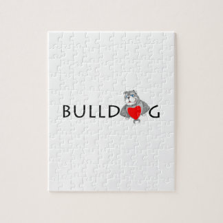 Funny Bulldog Cartoon Love Red Heart Jigsaw Puzzle
