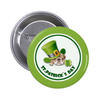 Funny Bulldog St.Patrick's Day Buttons