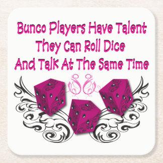 Funny Bunco - Can Roll Dice Square Paper Coaster