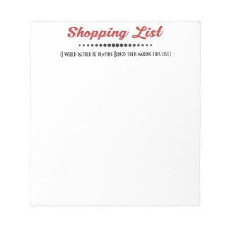 Funny Bunco Dice Game Shopping List Notepad