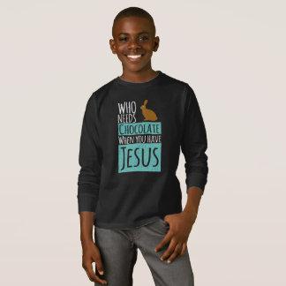 Funny Bunny Choco Jesus Christian Long Sleeve T-Shirt