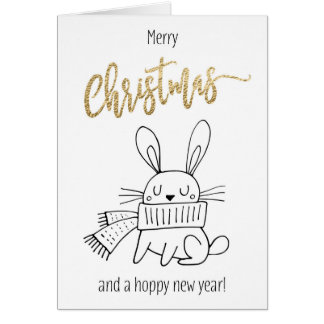 Funny Bunny Christmas Card Hoppy Holidays