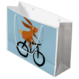 Funny Bunny Rabbit on Bicycle Large Gift Bag