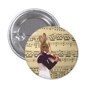Funny bunny rabbit violinist 3 cm round badge
