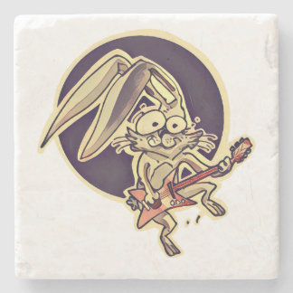 funny bunny sweet rabbit playing guitar cartoon stone coaster