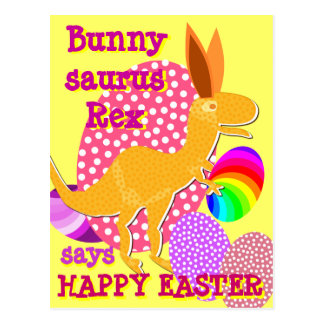 Funny Bunnysaurus Rex Happy Easter T-Rex Postcard