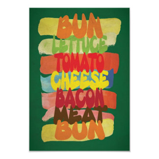 Funny Burger Typography Art Card