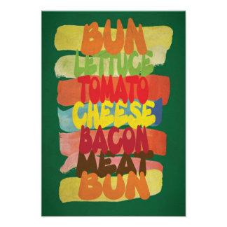 Funny Burger Typography Art Custom Invites