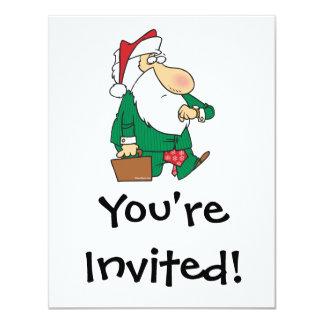 funny businessman santa claus cartoon 11 cm x 14 cm invitation card