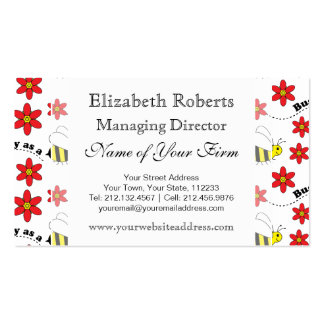 Funny Busy Little Bumble Bee Pattern Cute Business Cards