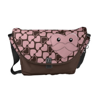 Funny But Cute Heart with Moustache Messenger Bag