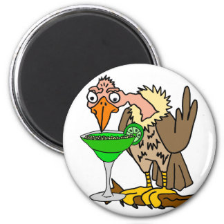 Funny Buzzard or Vulture Drinking Margarita 6 Cm Round Magnet