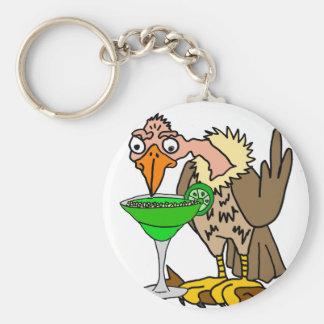 Funny Buzzard or Vulture Drinking Margarita Key Ring