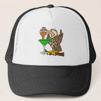 Funny Buzzard or Vulture Drinking Margarita Trucker Hat