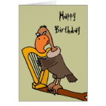 Funny Buzzard Playing Harp Design Greeting Card