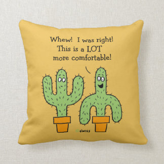 Funny Cactus Cartoon on Desert Gold Background Cushion