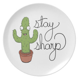 Funny Cactus Stay Sharp Character Plate